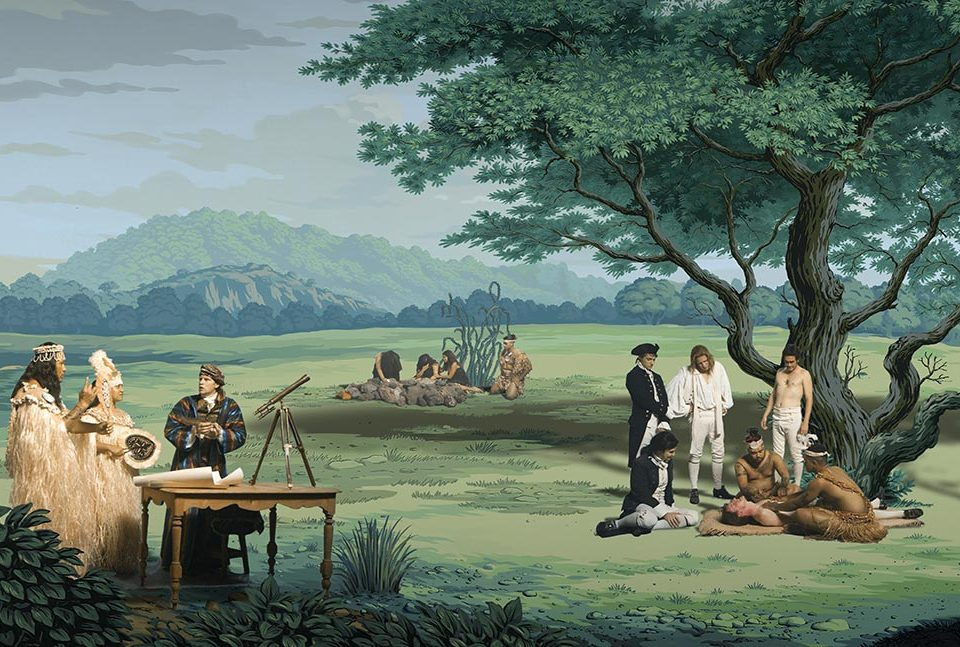 "Still taken from video artwork ""in Pursuit of Venus [infected]"" depicting Joseph Banks in conversation with a Tahitian Chief and wife, meanwhile an agitated English sailor receives a traditional Polynesian tattoo."