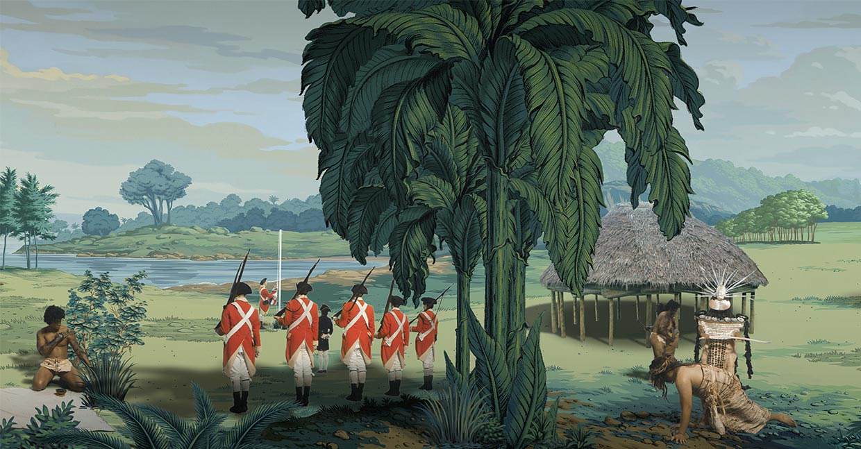 "Still taken from video artwork ""in Pursuit of Venus [infected]"". On the left side, five English Marines stand to attention watching a flag-raising ceremony, and on the right side a Tahitian Chief Mourner and his party of attendants menace a young Polynesian male crawling away on his hands and knees."