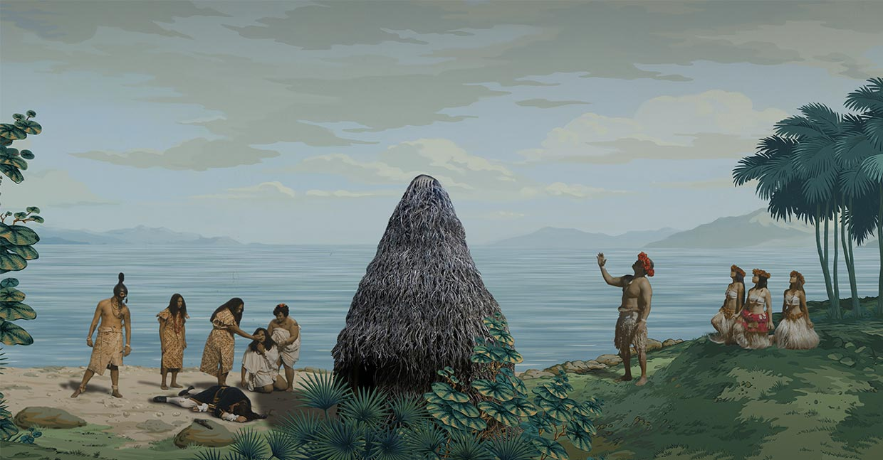 "Still taken from video artwork ""in Pursuit of Venus [infected]"" shows Hawaiians reacting to the Death of Captain Cook, on the right hand side a chant is called out while the women recline."