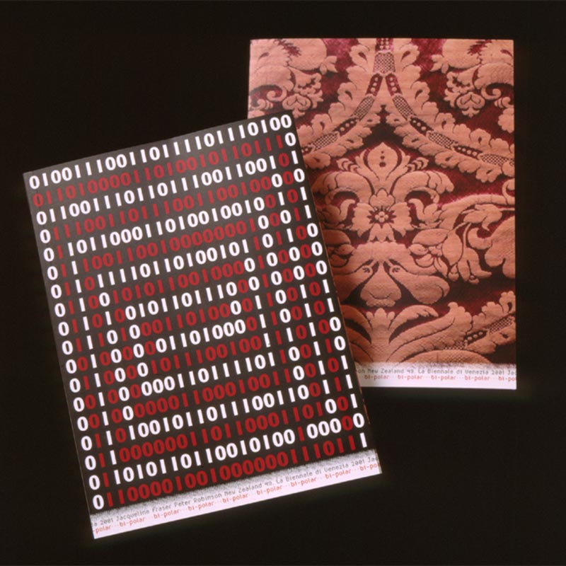 Print of brocade fabric in maroon and pink with Biennale title and 2001 artists' names repeated three times across the bottom.