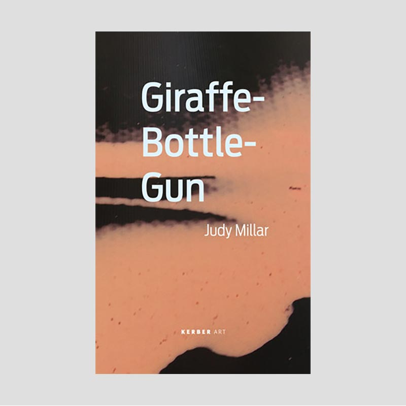 Exhibition book cover with enlarged black and orange brush strokes and exhibition title, Giraffe - Bottle - Gun in white text.