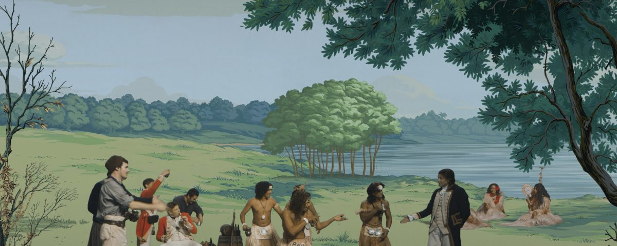 Lisa Reihana, in Pursuit of Venus [infected] 2015, multi-channel video (still), Auckland Art Gallery Toi o Tāmaki, gift of the Patrons of Auckland Art Gallery.