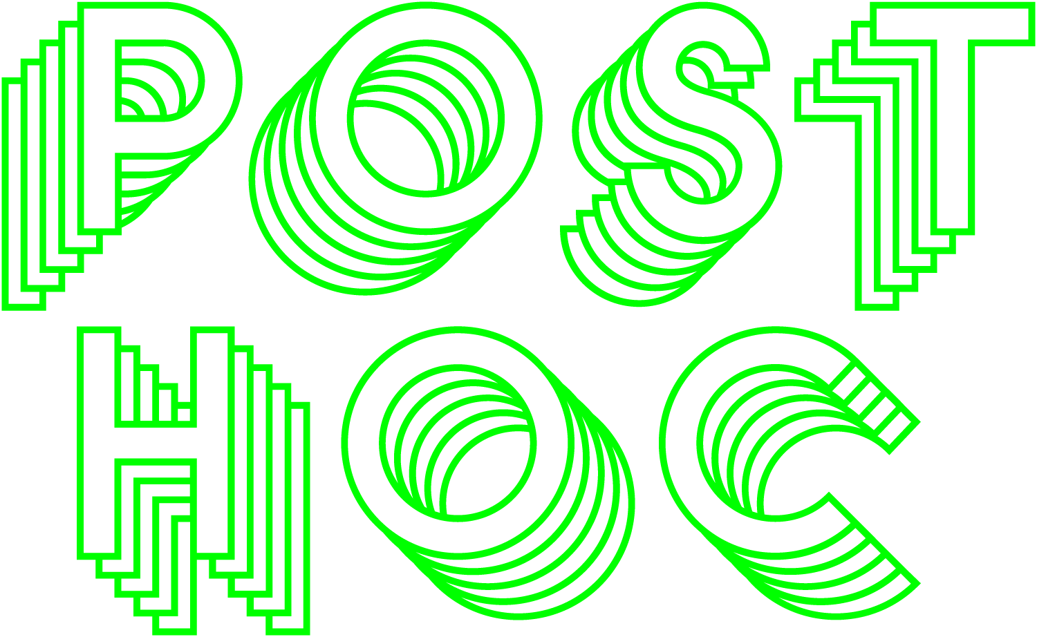 Visual identity for Post Hoc laid on top off close up of fake pine tree needles