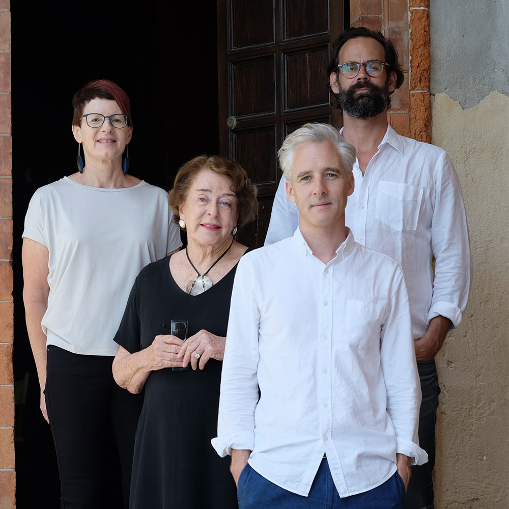 Creative team stand with Commissioner Dame Jenny Gibbs. Standing left to right Lead Curator Dr Zara Stanhope, Commissioner Dame Jenny Gibbs, Project Curator Chris Sharp, and artist Dane Mitchell